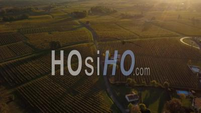 Aerial View Vineyard Of Castle Of Monbazillac, Historical Monument, Sweet Botrytized Wines Have Been Made In Monbazillac