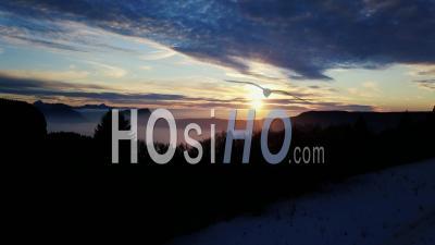Coucher De Soleil Sur Le Mont Revard En Hiver, France, Drone, Point De Vue
