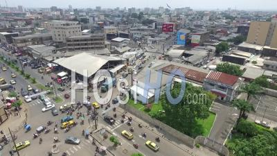 2 Eglises, 'two Churches' Crossroad In Douala - Video Drone Footage
