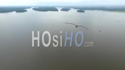 Islets And Bridge Under Construction In Douala Bay - Video Drone Footage