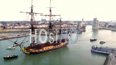 L'hermione Frigate At La Rochelle - Drone Point Of View