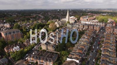 Aerial Ascending View Of Muswell Hill, A Typical Edwardian Victorian Village In North London - Video Drone Footage