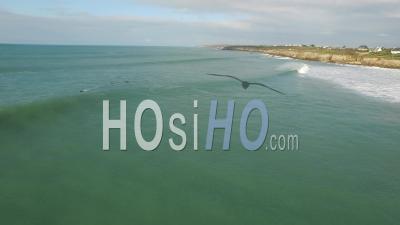 Surfeurs Sur L'océan, Vidéo Drone