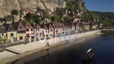 La Roque Gageac, One Of The Most Beautiful Villages Of France, Video Drone Footage