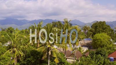 Maisons Traditionnelles Et Jungle Sur Ile De Gili Air - Vidéo Drone