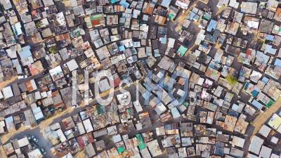 Straight Down Circular High Aerial View Above Ramshackle Township Of Gugulethu, One Of The Poverty Stricken Slums, Ghetto, Or Townships Of South Africa - Drone Point Of View