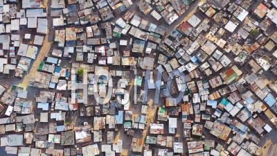 Straight Down Lowering High Aerial View Above Ramshackle Township Of Gugulethu, One Of The Poverty Stricken Slums, Ghetto, Or Townships Of South Africa - Drone Point Of View