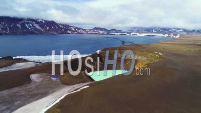 Aerial View Over A Massive Caldera In The Askja Region Of Iceland Desolate Highlands - Video Drone Footage
