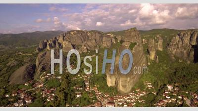 Aerial View Of The Rock Formations And Monasteries Of Meteora, Greece - Video Drone Footage