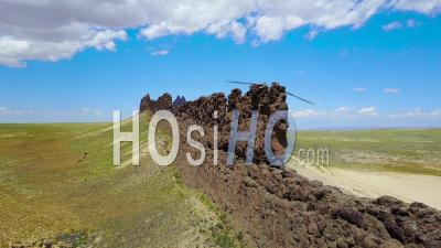 Aerial View Over A Natural Geological Formation Reveals Shiprock, New Mexico - Video Drone Footage