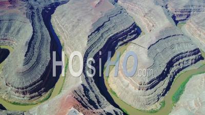Aerial View Over The San Juan River At Goosenecks, Utah - Video Drone Footage