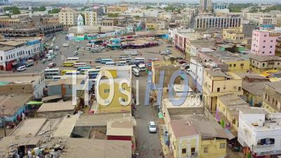 Aerial View Over The Downtown Region Of Djibouti Or Somalia In North Africa - Video Drone Footage