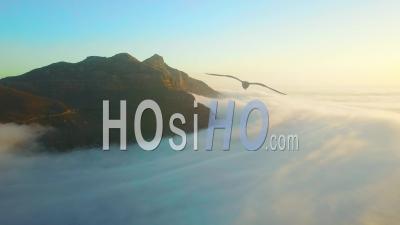 Vue Aérienne Au-Dessus Des Nuages En Regardant La Montagne De La Table Et Douze Apôtres Derrière Le Cap, Afrique Du Sud.
