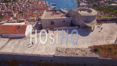 Aerial View Over Hvar, Croatia And It's Distinctive Minarets - Video Drone Footage