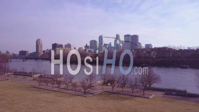 Aerial View Over The Mississippi River Towards Minneapolis, Minnesota - Video Drone Footage