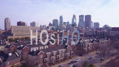 Aerial View Over Suburban Houses Towards Minneapolis, Minnesota - Video Drone Footage