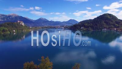 Aerial View Over Lake Bled And Island Castle, Slovenia - Drone Point Of View