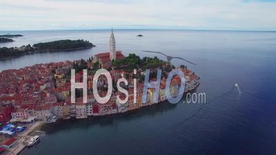 Aerial View Of The Town Of Rovinj In Croatia - Video Drone Footage