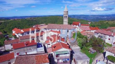 Aerial View Of A Small Croatian Or Italian Hill Town Or Village - Video Drone Footage