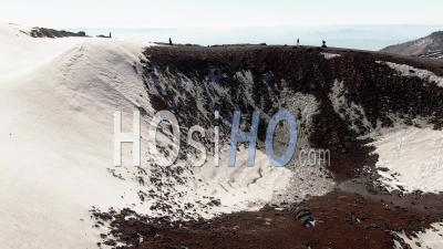 A Small Volcanic Crater On Mount Etna In Sicily (italy) - Video Drone Footage