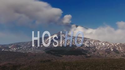 Mount Etna In Sicily With Snow In Winter - Video Drone Footage