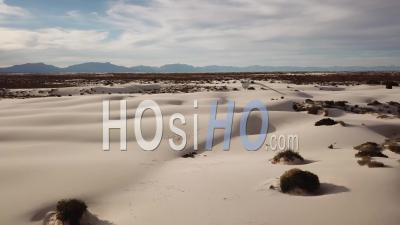 Aerial View Over The Desert At White Sands National Monument In New Mexico - Video Drone Footage