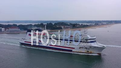 Aerial View Over A Brittany Ferry Boat Sailing Across The English Channel From England To France - Video Drone Footage