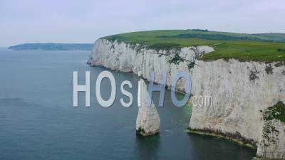 Aerial View Over The White Cliffs Of Dover Near Old Harrys Rocks On The South Coast Of England - Video Drone Footage