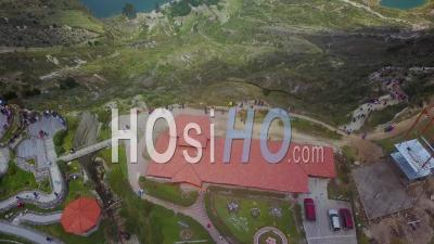 Aerial View Reveals Quilotoa, Ecuador Caldera In The Andes Mountains - Video Drone Footage