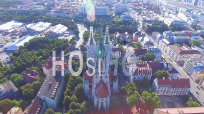Aerial View Of St. Paul's Gothic Cathedral In Munich, Germany - Video Drone Footage