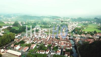 Aerial View Saint-Jean-Pied-De-Port, Pont Vieux Over The Nive De Beherobie River , France - Video Drone Footage