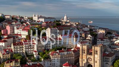 Aerial View Of Lisbon, Lisboa, Lisbon Cathedral, Portugal - Video Drone Footage