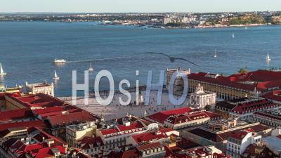 Aerial View Of Lisbon, Lisboa, Commerce Square, Portugal - Video Drone Footage