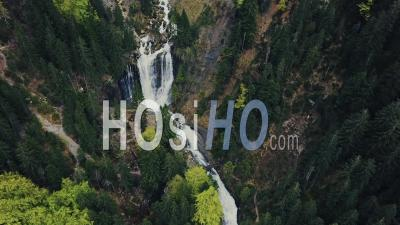 Waterfall Of Cirque De Saint Meme Filmed By Drone