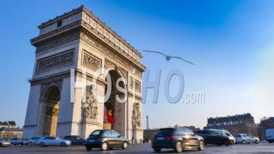 Traffic Jam In Morning Rush Hour At Arch Of Triumph, Paris, France