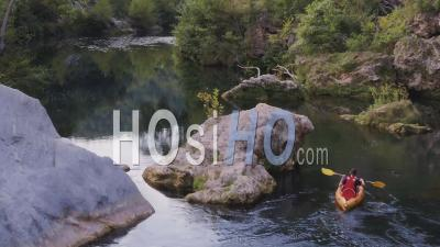 Man Kayaking On River Argens In Provence – Drone Pont Of View