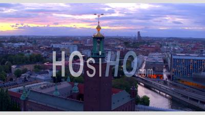 Stockholm City Hall During An Cloudy Sunset In Sweden, Drone View