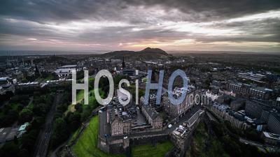 Establishing Aerial View Of Edinburgh, Edinburgh Castle, Scotland, United Kingdom - Video Drone Footage