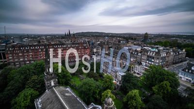 Aerial View Of Edinburgh, The Parish Church Of St Cuthbert, Edinburgh Castle, Scotland, United Kingdom - Video Drone Footage