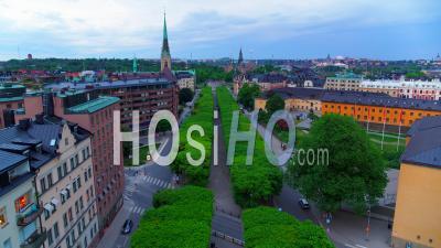 Narvavagen Avenue À Stockholm, Suède- Vidéo Drone