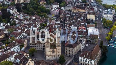 Aerial View Of Zurich, Old Town, Switzerland - Video Drone Footage