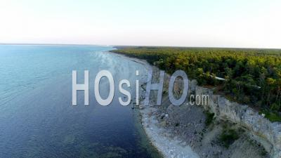 Eroding Limestone Coastal Landscape, Sweden - Drone Point Of View