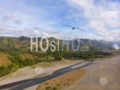 River Landscape With Tropical Mountain, Philippines, Drone View - Aerial Photography