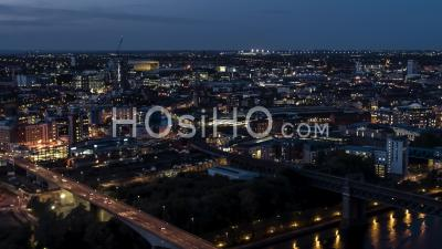 Aerial View Of Newcastle Upon Tyne At Night, England, Great Britain - Video Drone Footage