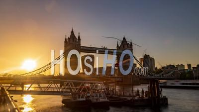 Tower Bridge And The City Of London At Sunset. Day To Night Transition