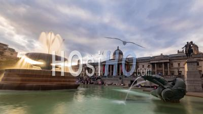 Trafalgar Square, London With Fountains And The National Gallery Before Sunset