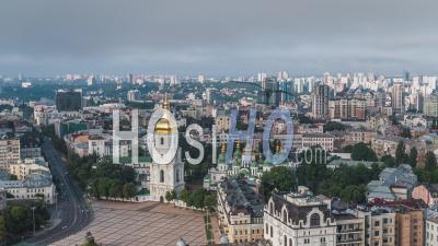 Aerial View Of Kiev (kyiv), St. Sophia's Cathedral, Kiev Skyline, Ukraine - Video Drone Footage