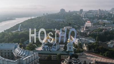 Aerial View Of Kiev (kyiv), St. Michael's Monastery, Kiev Skyline, Ukraine - Video Drone Footage