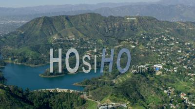 Aerial View Of Hollywood Sign, Hollywood Reservoir And Beachwood Canyon