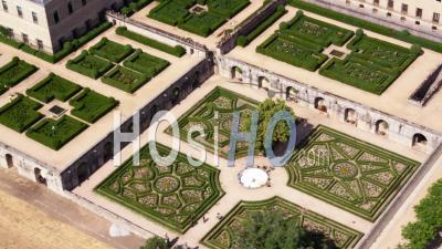 Aerial View Of Gardens Of El Escorial Palace Near Madrid